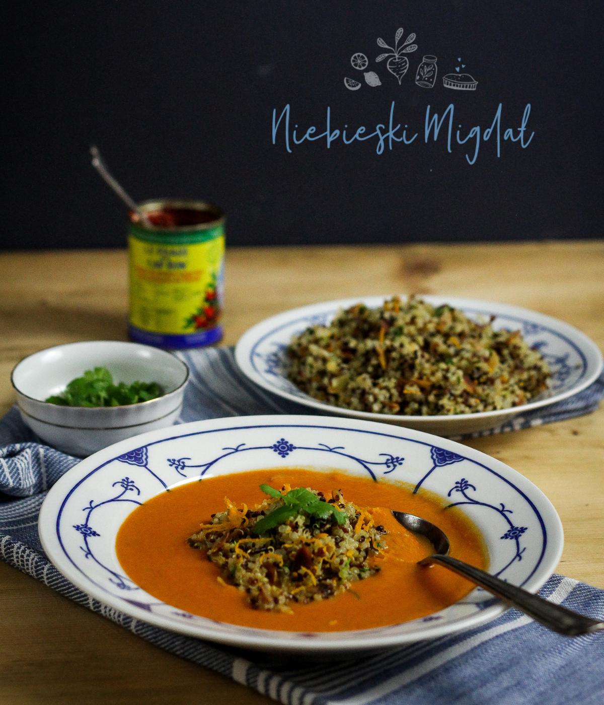 Marokańska Zupa z Cieciorki z Pomarańczowo-Migdałową Komosą
