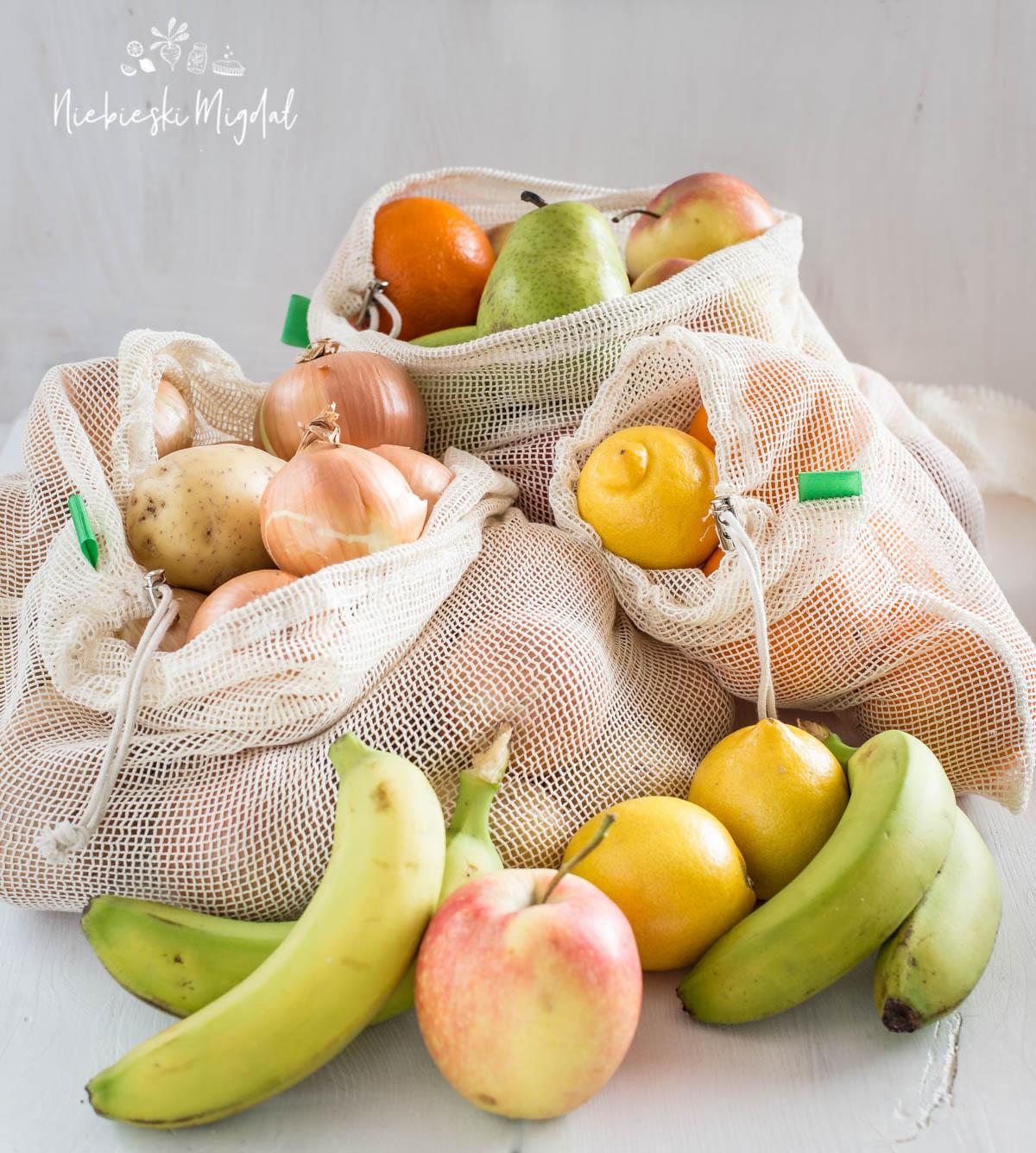 IWorki na warzywa i owoce Zero Waste Niebieski Migdał