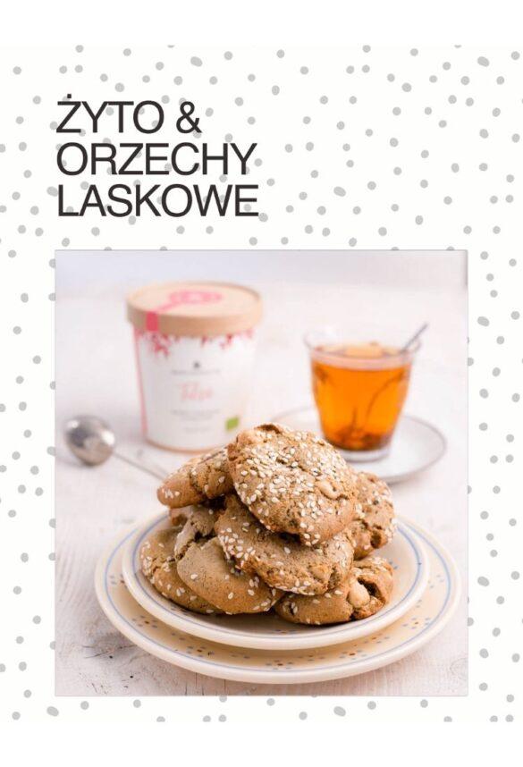 NIebieski Migdał Ebook TEA&CAKE Od ciasta do herbaty VEGE_ Ciasteczka żytnie z orzechami